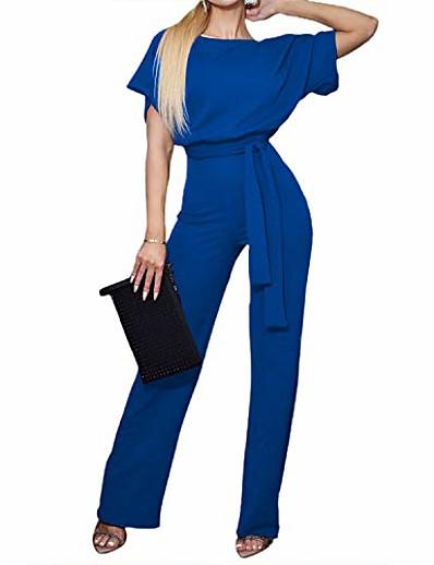 cheap JUMPSUITS & ROMPERS-women's wide leg jumpsuits high waisted drawstring belt short sleeve crewneck long pants romper