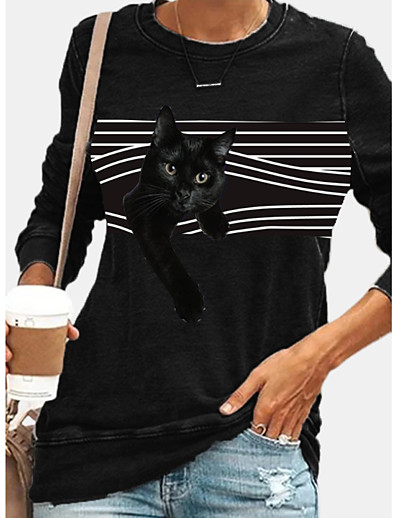 cheap Hoodies & Sweatshirts-Women's Pullover Sweatshirt Striped Cat Graphic Daily Casual Hoodies Sweatshirts  Black
