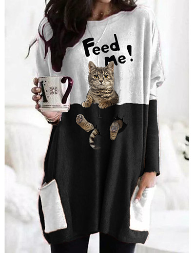 cheap Christmas Dresses-Women's T shirt Dress Tunic Cat Plaid Graphic Prints Long Sleeve Pocket Patchwork Print Round Neck Tops Basic Basic Top White Black
