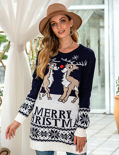 cheap NEW IN-Women's Christmas Knitted Geometric Pullover Long Sleeve Sweater Cardigans Crew Neck Fall Winter Blue