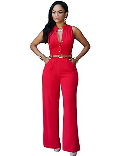 cheap JUMPSUITS & ROMPERS-women casual solid v neck sleeveless belted overall wide leg jumpsuit jumpsuits & rompers red