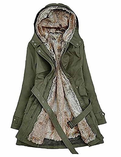 abordables Manteaux & Trenchs Femme-Dames doublure de fourrure manteau femmes hiver chaud épais veste longue à capuche vert