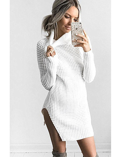 cheap 11/18/2020-Women's Sweater Jumper Dress Short Mini Dress - Long Sleeve Solid Color Split Patchwork Fall Winter Casual Cotton 2020 White Black Blushing Pink Khaki S M L XL XXL