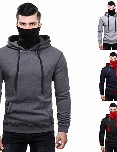 cheap Running, Jogging & Walking-Men's Long Sleeve Hoodie Sweatshirt Hoodie with Mask Top Casual Athleisure Winter Thermal Warm Breathable Soft Fitness Gym Workout Running Jogging Training Sportswear Solid Colored Normal Dark Grey