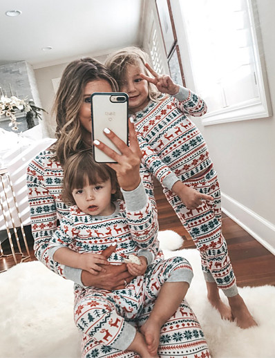 cheap Family Matching Pajamas Sets-Family Look Graphic Animal Print Long Sleeve Regular Regular Clothing Set Rainbow