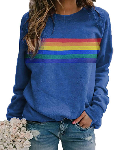 cheap Hoodies & Sweatshirts-Women's T shirt Rainbow Graphic Long Sleeve Round Neck Tops Basic Casual Basic Top Blue Red Khaki