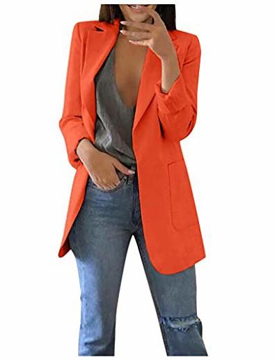 abordables Blazers Femme-costume femmes couleur unie slim fit col rabattu blazer cardigans mi-long manteau de bureau avec poche slim veste pour mariage travail professionnel (orange, l)