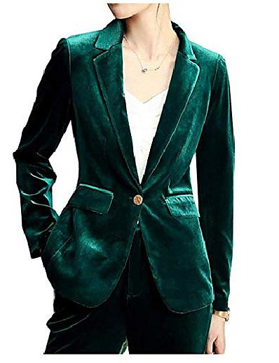 abordables Blazers Femme-Femme Manteau Veste bleue + pantalon bleu / Veste verte + pantalon vert S / M / L