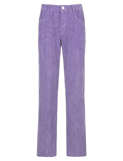 cheap Women's Bottoms-Women's Basic Streetwear Comfort Daily Going out Pants Chinos Pants Solid Colored Full Length Purple Brown