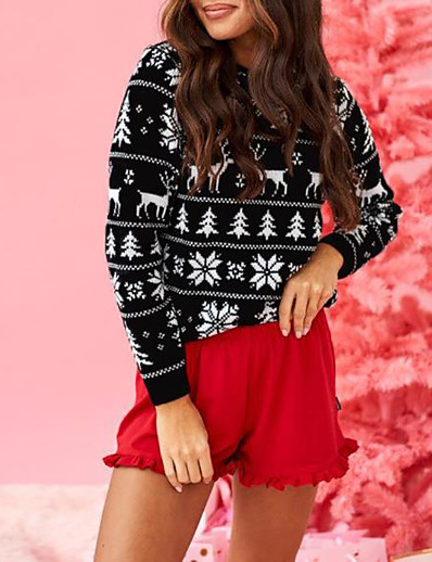 cheap Christmas Sweater-Women's Christmas Knitted Striped Pullover Long Sleeve Sweater Cardigans Crew Neck Fall Winter Blue Red Green