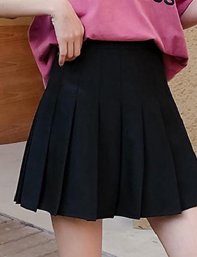 abordables Pantalons et Jupes Femme-femmes taille haute plissée solide taille plus jupes de tennis simples blanc l