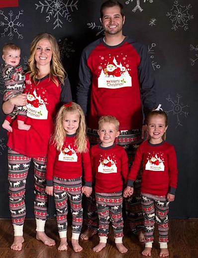 halpa perhe sopivat asut-joulu Vaatesetti Perheen ilme Kuvitettu Kirjain Painettu Rubiini Pitkähihainen Vastaavat asut