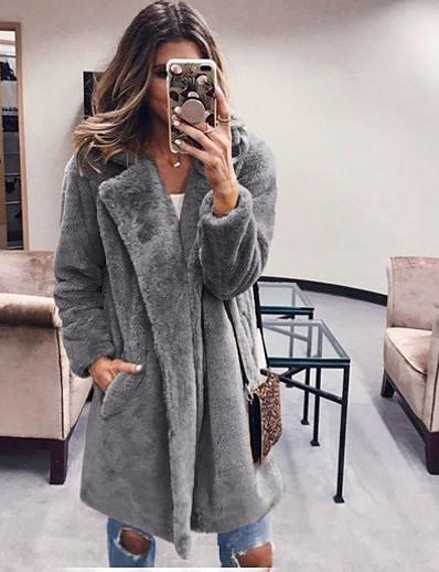 cheap OUTERWEAR-Women's Winter Teddy Coat Long Solid Colored Daily Black Fuchsia Camel Dark Gray S M L XL