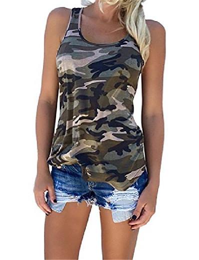 preiswerte Damen Tank-Shirts & kurze Jäckchen-Womens Camouflage Casual T Shirt Camo ärmellose Panzer Top Weste und Short (l, 1)