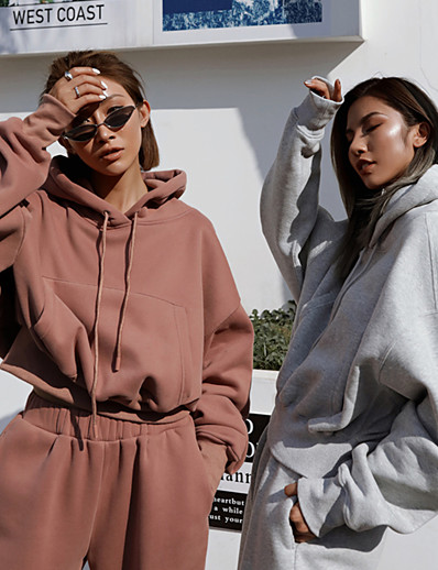 cheap Running, Jogging & Walking-Women's 2 Piece Tracksuit Sweatsuit Street Athleisure Long Sleeve 2pcs Winter Spandex Thermal Warm Breathable Soft Fitness Gym Workout Running Jogging Training Sportswear Solid Colored Outfit Set