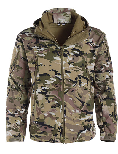 cheap Hunting Clothing-Men's Hoodie Jacket Softshell Jacket Camouflage Hunting Jacket Outdoor Thermal Warm Waterproof Windproof Multi-Pockets Autumn / Fall Winter Camo Softshell Jacket Coat Polyester Long Sleeve Camping