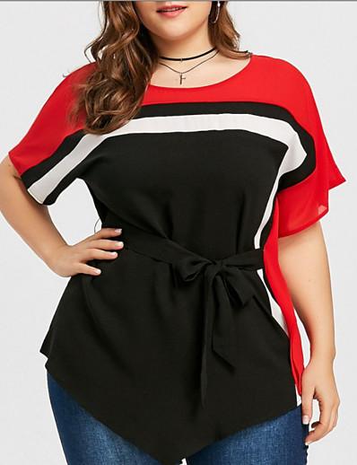 preiswerte Tops in Übergröße-Damen Übergrössen Bluse Hemd Einfarbig Patchwork Rundhalsausschnitt Oberteile Seide Street Schick Basic Top Schwarz