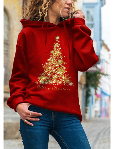 cheap CHRISTMAS-Women's Pullover Hoodie Sweatshirt Graphic Christmas Daily Basic Christmas Hoodies Sweatshirts  Red