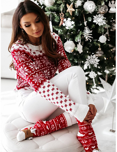cheap Sweaters & Cardigans-Women's Christmas Floral Pullover Acrylic Fibers Long Sleeve Sweater Cardigans Crew Neck Fall Winter White Red