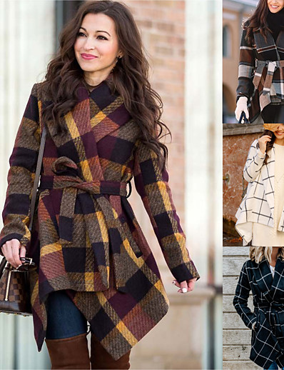 cheap 11/18/2020-Women's Fall & Winter Trench Coat Long Plaid Going out White Black Light Brown Brown S M L XL