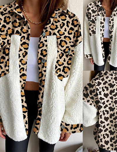 cheap 11/18/2020-Women's Single Breasted Teddy Coat Regular Leopard Going out Yellow Beige S M L XL