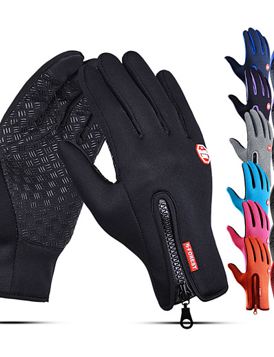 cheap SPORTSWEAR-Winter Gloves Running Gloves Full Finger Gloves Anti-Slip Touch Screen Thermal Warm Cold Weather Men's Women's Lining Zipper Skiing Hiking Running Driving Cycling Texting Fleece Neoprene Winter / SBR