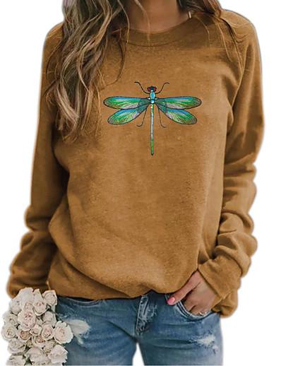 cheap Hoodies & Sweatshirts-Women's Hoodie Sweatshirt Animal Patterned Graphic Daily Basic Casual Hoodies Sweatshirts  Blue Khaki Green