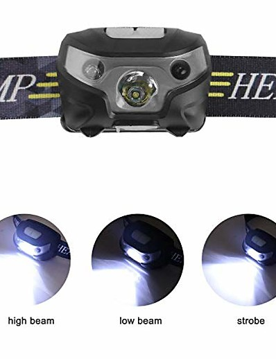 cheap SPORTSWEAR-rechargeable led headlamps, with induction modes led head torch, usb cable hands free head lights, ideal for camping, hiking, jogging (black)