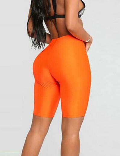 cheap Women's Bottoms-biker shorts for women neon bright active biker yoga shorts knee length (large, blue)