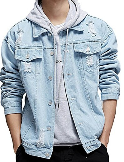 preiswerte Herren Überbekleidung-Herren verzweifelte Jeansjacke mit Button-Down-Jeans-Trucker-Mantel (hellblau, groß)