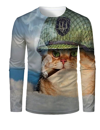 cheap MEN-Men's 3D Graphic Animal T shirt Print Long Sleeve Daily Tops Round Neck Light Blue