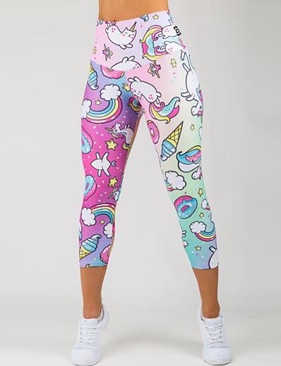 abordables Leggings-Femme Sportif Confort Gymnastique Yoga Leggings Pantalon Avec motifs Mollet Imprimé Rose Claire