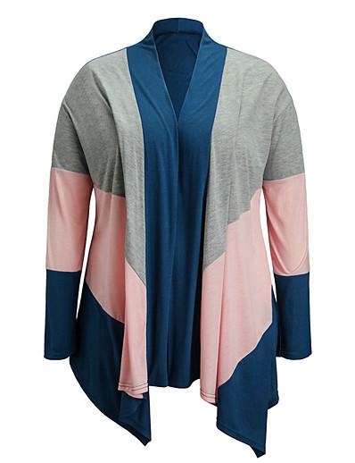 preiswerte Plus Size Pullover-Damen Streife Strick Gestreift Einfarbig Strickjacke Langarm Übergrössen Pullover Cardigans V-Ausschnitt Herbst Rosa