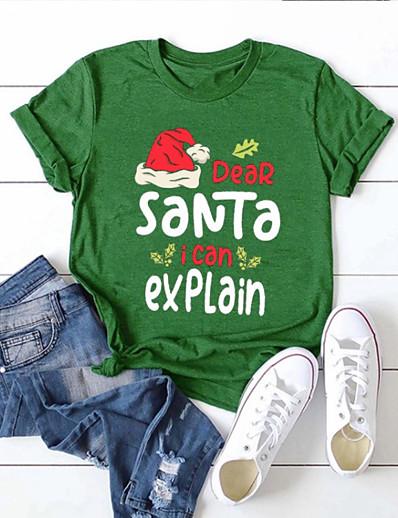 זול CHRISTMAS-בגדי ריקוד נשים חג מולד חולצה קצרה 3D דפוס צווארון עגול צמרות חג מולד בסיס עליון לבן שחור אודם