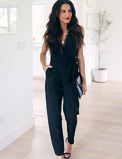 cheap JUMPSUITS & ROMPERS-Women's Ordinary Black Jumpsuit Solid Colored Lace