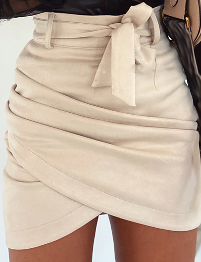 cheap Bottoms-Women's Casual / Daily Skirts Solid Colored Ruched Patchwork Black Beige