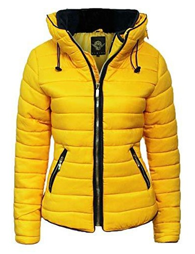 abordables Doudounes & Parkas Femme-garde-robe flirty femmes jaune moutarde matelassé matelassé bouffant col bulle chaud manteau épais veste [jaune moutarde, xl]