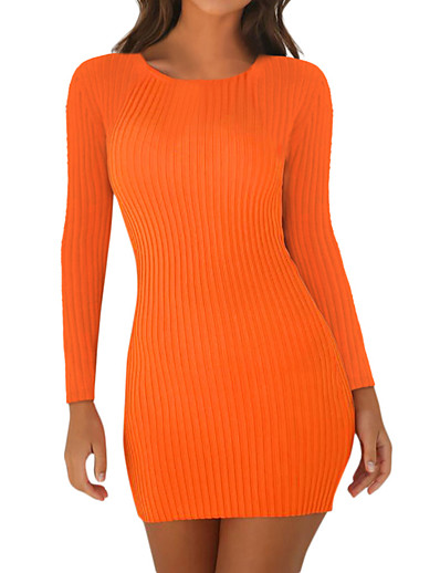 cheap Sweater Dresses-Women's Sweater Jumper Dress Short Mini Dress Black Red Orange Long Sleeve Solid Color Patchwork Fall Round Neck Sexy 2021 S M L XL