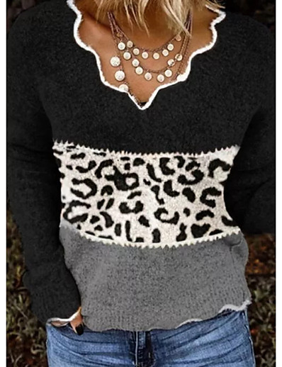 cheap Sweaters & Cardigans-Women's Knitted Leopard Color Block Pullover Long Sleeve Sweater Cardigans V Neck Fall Winter Black Red Brown