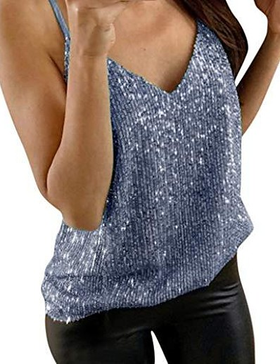 cheap Tank Tops-sexy pearly sequin party top, women shimmer glitter cami vest tank top loose night clubwear going out outfit blue