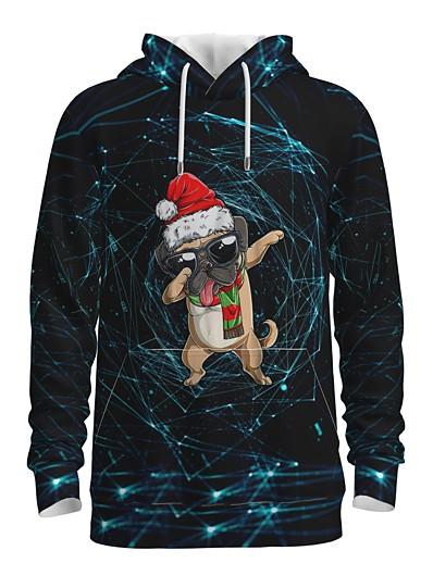cheap Men's 3D-Men's Pullover Hoodie Sweatshirt Print Graphic 3D Front Pocket Hooded Christmas Daily 3D Print 3D Print Christmas Hoodies Sweatshirts  Long Sleeve Black