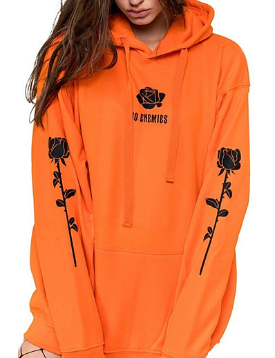 cheap Hoodies & Sweatshirts-Women's Plus Size Pullover Hoodie Sweatshirt Floral Letter Casual Basic Hoodies Sweatshirts  Loose Black Blue Orange
