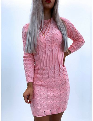 cheap Sweater Dresses-Women's Sheath Dress Short Mini Dress Blushing Pink Gray Long Sleeve Solid Color Patchwork Jacquard Fall Winter Round Neck Casual 2021 S M L XL