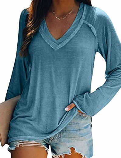cheap Blouses & Shirts-women solid color cross v neck blouse shirt long sleeve casual fall tops