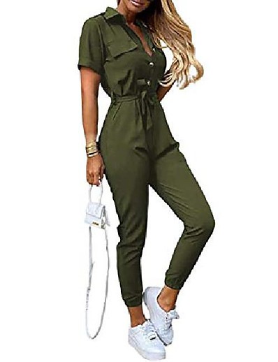 cheap Jumpsuits & Rompers-Women's Casual Causal Daily Holiday 2021 Creamy-white ArmyGreen Striped flower Jumpsuit Print Solid Color
