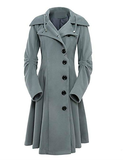 cheap Plus Size Outerwear-Women's Solid Colored Basic Fall Trench Coat Long Sport Long Sleeve Cotton Blend Coat Tops Black