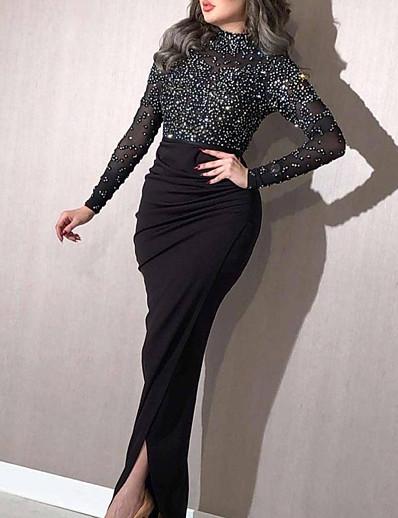 cheap Midi Dresses-Women's Sheath Dress Midi Dress White Black Blushing Pink Long Sleeve Solid Color Fall Round Neck Elegant Formal 2021 S M L XL XXL