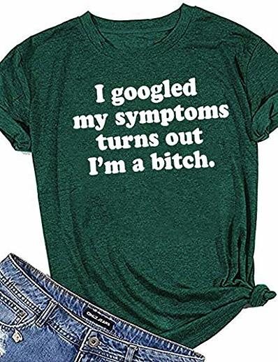 abordables Tee-shirts-T-shirts drôles disant femmes j'ai googlé mes symptômes T-shirts décontractés à manches courtes imprimés (a-vert foncé, l)