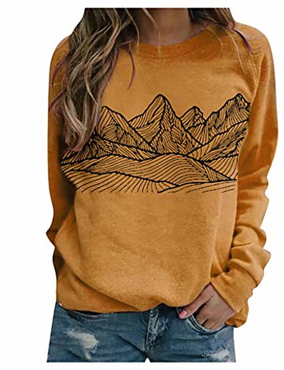 cheap Hoodies & Sweatshirts-fashion women crew neck long sleeve graphic mountain printed plain loose blouse sweatshirt (yellow, s)