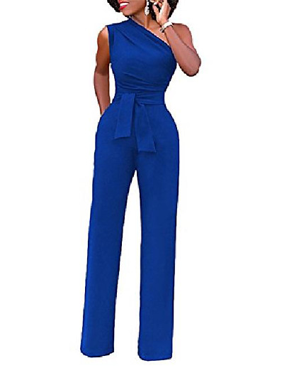 cheap Jumpsuits & Rompers-Women's Casual Daily Wear 2021 White Black Blue Jumpsuit Solid Color